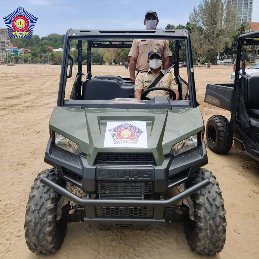 CM flags off 10 terrain vehicles, to be used by Mumbai Police for patrolling in Chowpatty