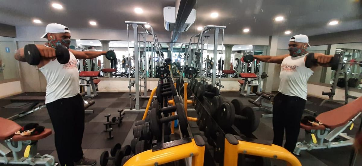 People were seen training at a local gym in Gorai, Mumbai on Monday after the government announced the easing of COVID-induced restrictions in Mumbai.