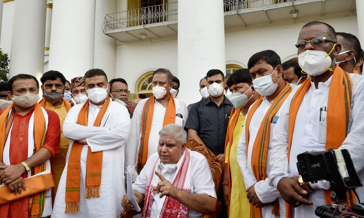 West Bengal: Suvendu Adhikari, 49 BJP MLAs meet Guv Jagdeep Dhankhar discuss implementation of anti-defection law, alleged atrocities of TMC
