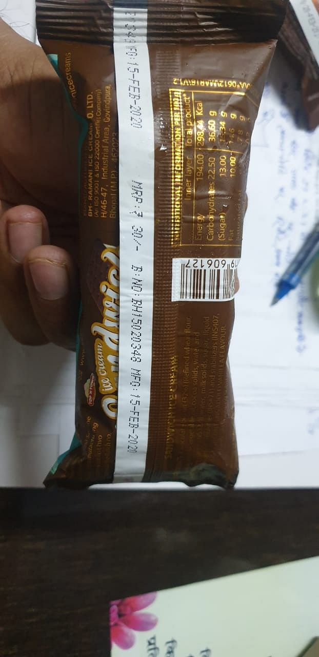 Ice cream pack with  manufacturing date