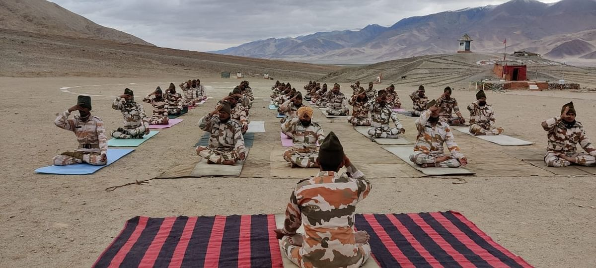 On International Day Of Yoga ITBP personnel perform Yoga at an altitude of 15,000 ft near a Border Out Post in Ladakh.
