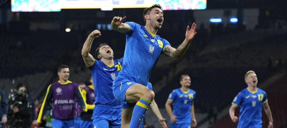 Ukraine players celebrate