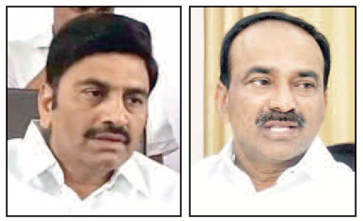 YSR Congress MP Raghurama Krishnam Raju (L) and former Telangana minister Etela Rajender