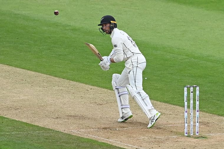 New Zealands Devon Conway plays a shot during the third day of the World Test Championship final match between New Zealand and India, at the Rose Bowl in Southampton on Sunday