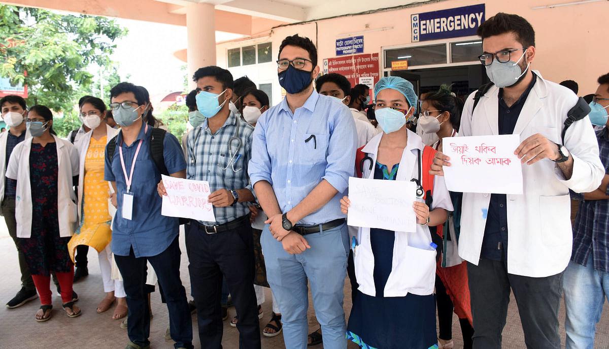 Doctors stage protest, boycott OPD services over assault on junior doctor in Assam's Hojai