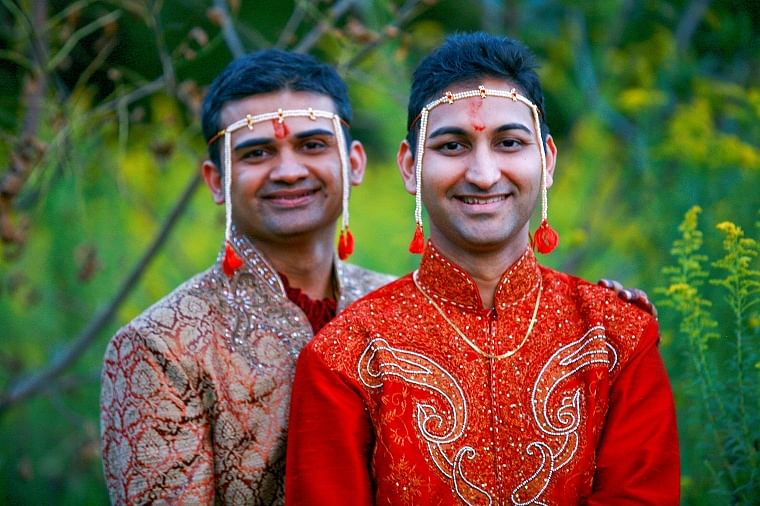 Sameer Samudra (left) got married to his partner Amit Gokhale in the USA