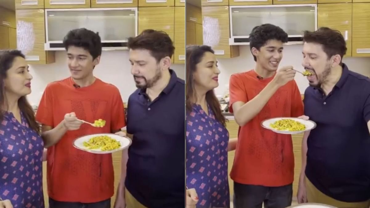Watch: Madhuri Dixit's husband Dr Nene teases son Arin as he cooks after a long time