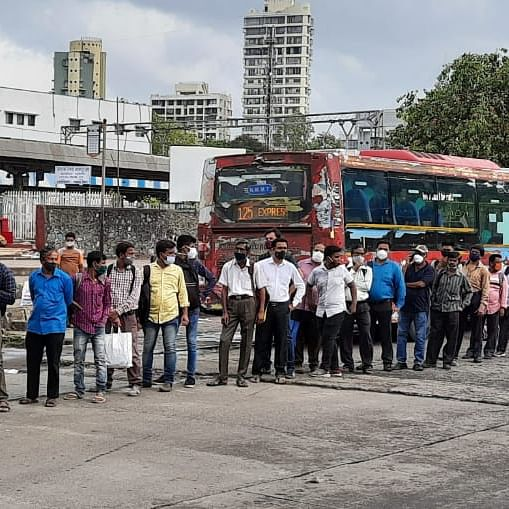 Bus services in Mumbai resume from today; long queues at bus stops - See pics