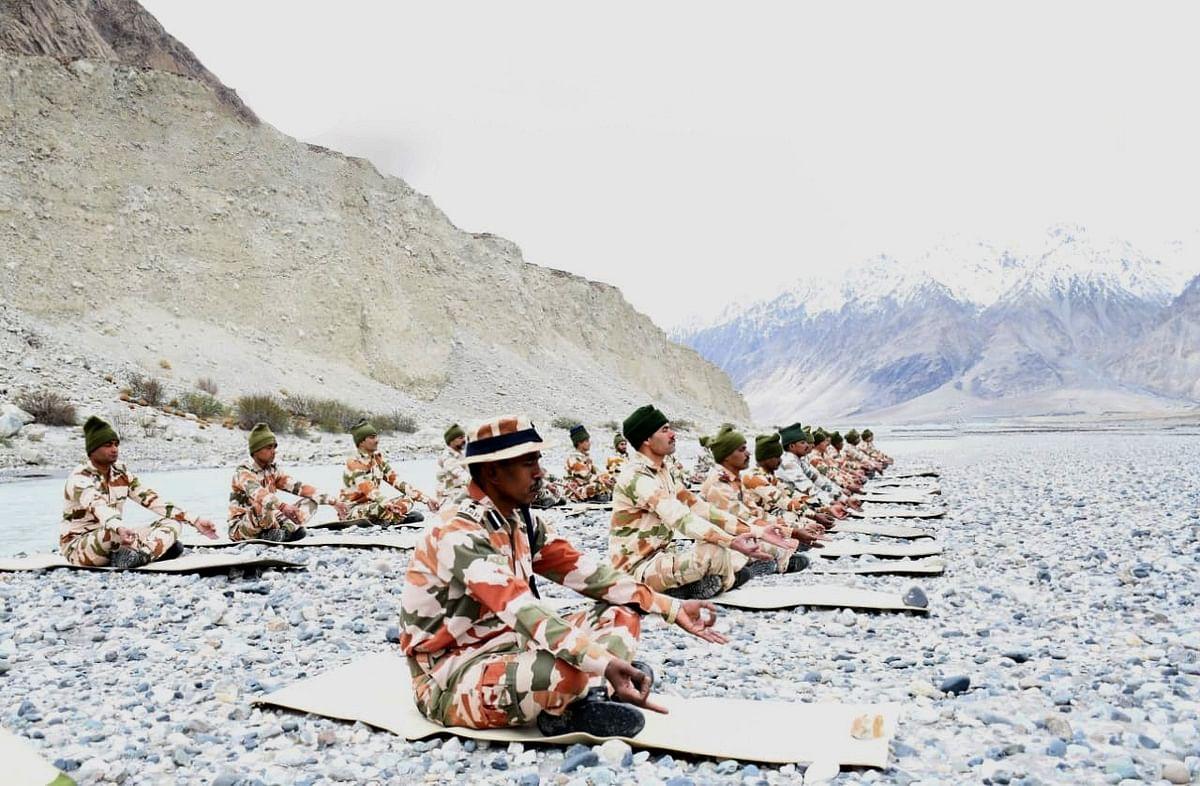 ITBP personnel perform Yoga near Galwan, Ladakh on International Yoga Day.
