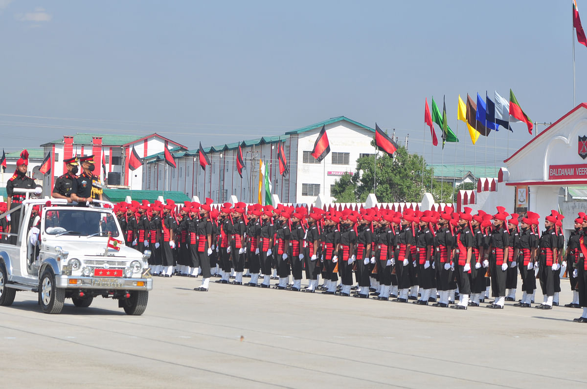 Lt Gen DP Pandey  General-officer-Commanding (GOC) Chinar 15 Corps inspects during the passing out parade of new recruits in an Army base on the outskirts of Srinagar, on Friday , 25 June 2021.