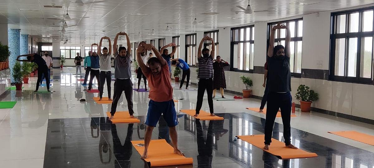 Yoga  at IIT Indore on Monday