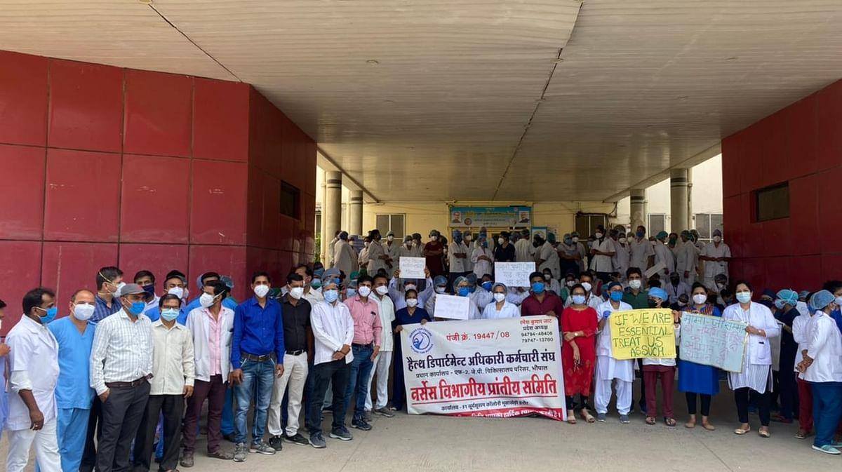 Indore: Nursing staff of Mahatma Gandhi Memorial Medical College struck work for two hours