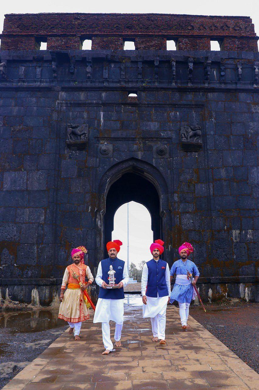 BJP MP Sambhaji Raje Chhatrapati celebrated Shiv Rajyabhishek Din to commemorate the coronation day of the great Maratha warrior king Chhatrapati Shivaji Maharaj at the Raigad Fort on June 6, 2021.