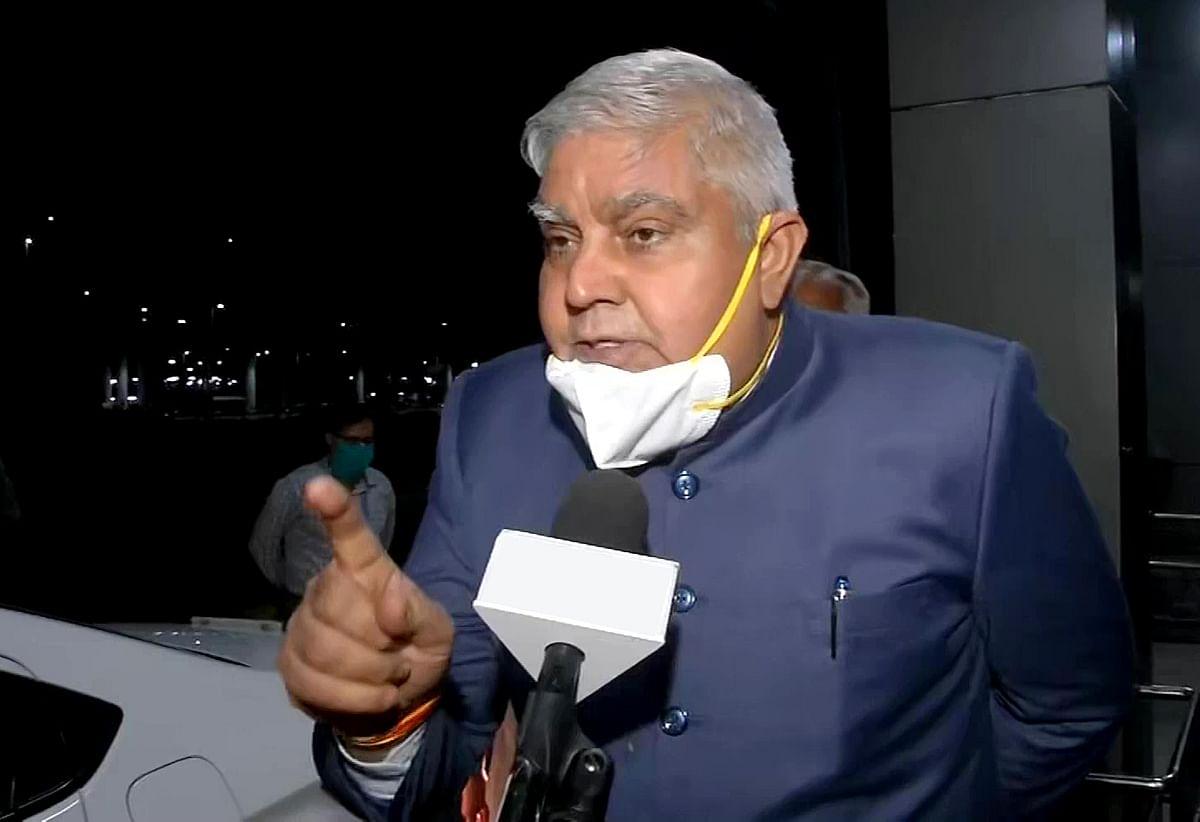 New Delhi, June 16 (ANI): West Bengal Governor Jagdeep Dhankhar speaks to media after leaving Union Minister Prahlad Joshis residence, in New Delhi on Wednesday.