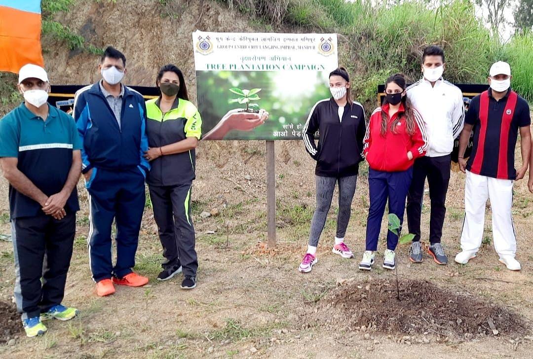 CRPF organises mass plantation drive at Group Centre, Langjing imphal