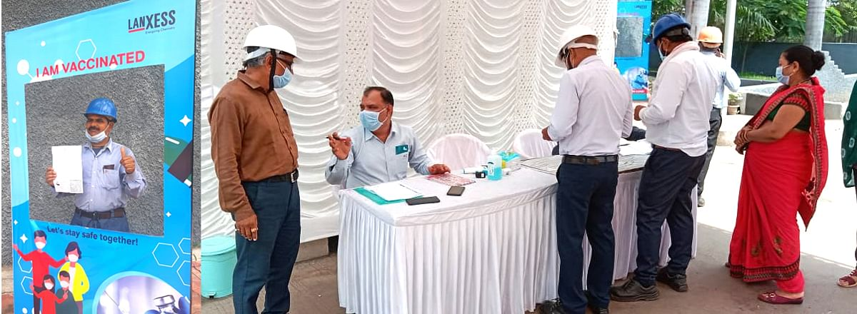 Nagda: 500 labourers of Lanxess Industries take anti-Covid jab during two-day camp