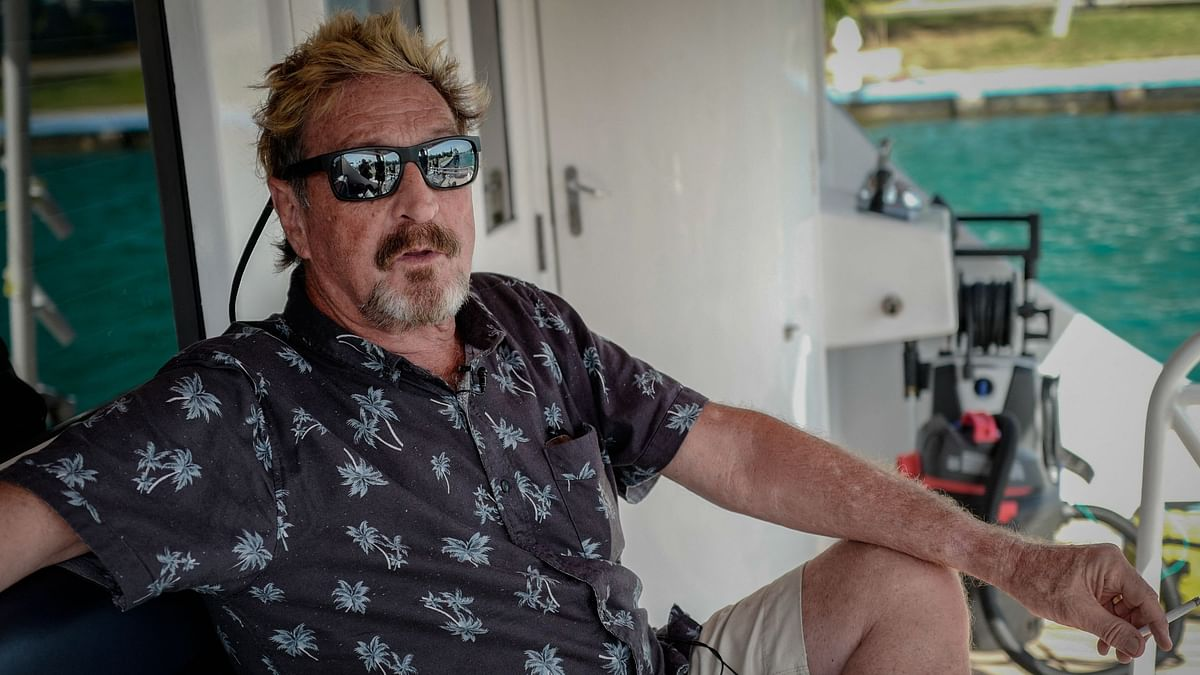 This file photo taken on July 4, 2019 shows US millionaire John McAfee gesturing during an interview with AFP on his yacht anchored at the Marina Hemingway in Havana.