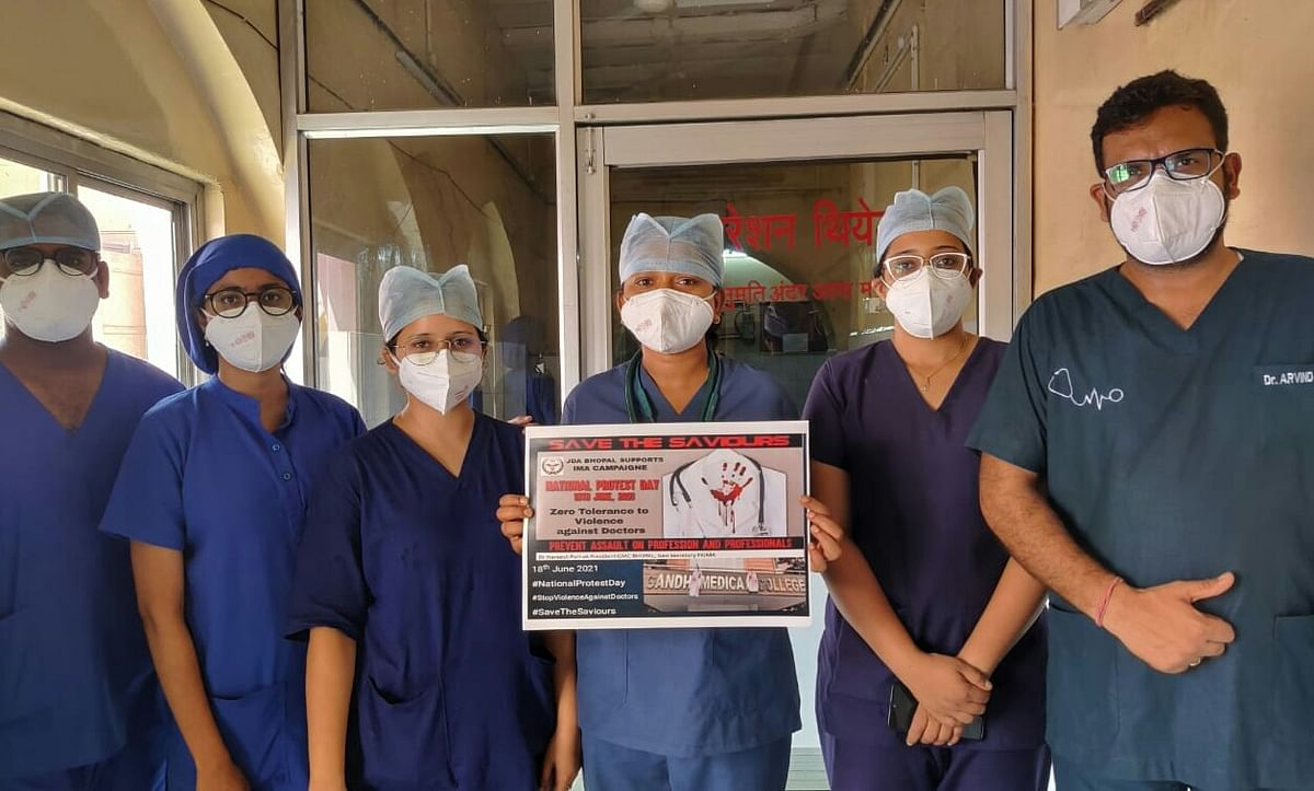 Save the saviours: Doctors in Bhopal hold protest against the assault on medical professional