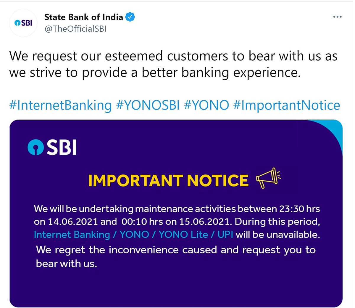 Yono, UPI, others services  will be unavailable for SBI customers from midnight for sometime