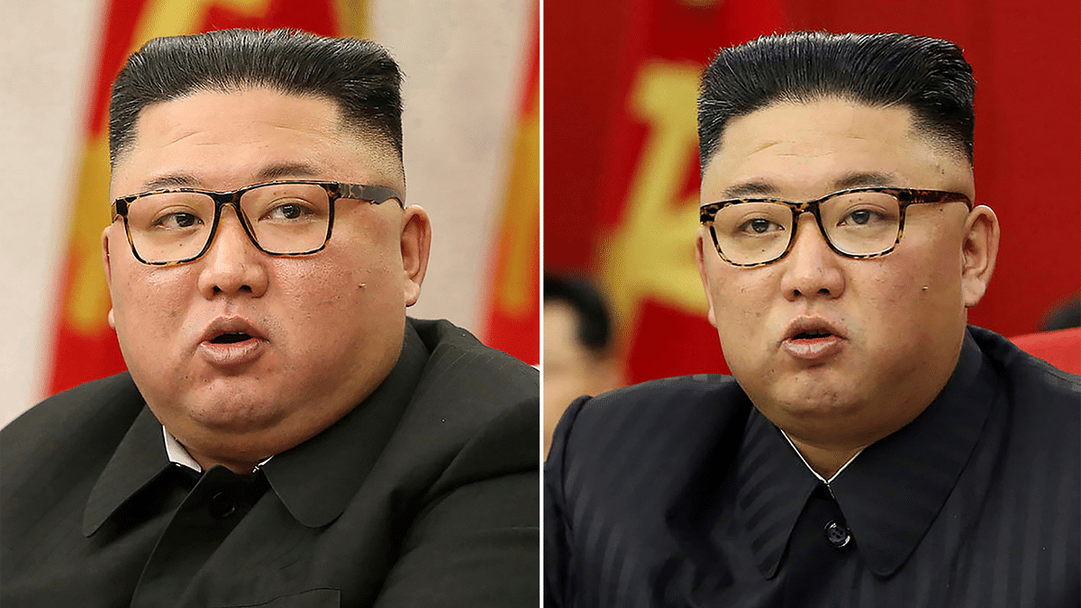 This combination of file photos provided by the North Korean government, shows North Korean leader Kim Jong Un at Workers Party meetings in Pyongyang, North Korea, on Feb. 8, 2021, left, and June 15, 2021.