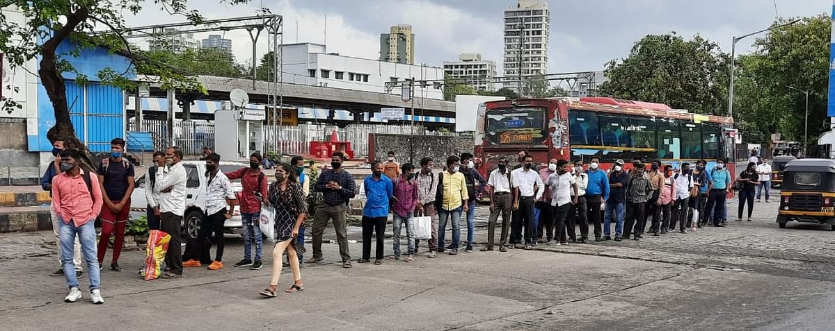 Long queues for buses observed in Borivali on Monday after the Maharashtra government announced the easing of COVID-induced restrictions as a part of its five-level plan.