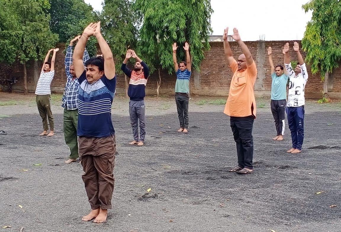 By pre-registration in the Yoga Day programme organised by Vidya Bharati on International Yoga Day