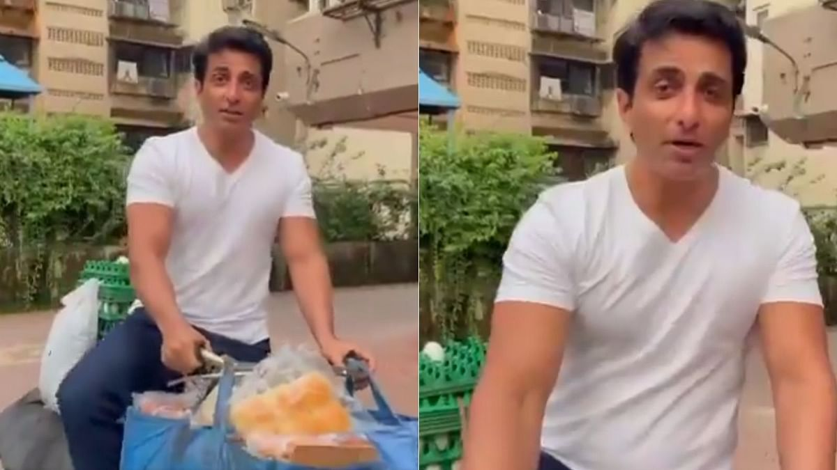 Watch Video: Sonu Sood sells eggs and bread on a bicycle, says 'ekdum hit hai boss'