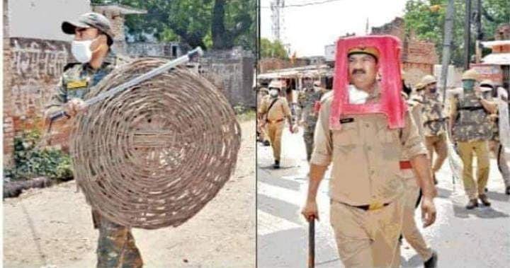 Uttar Pradesh: Cops seen using bamboo basket, plastic stool as riot gear