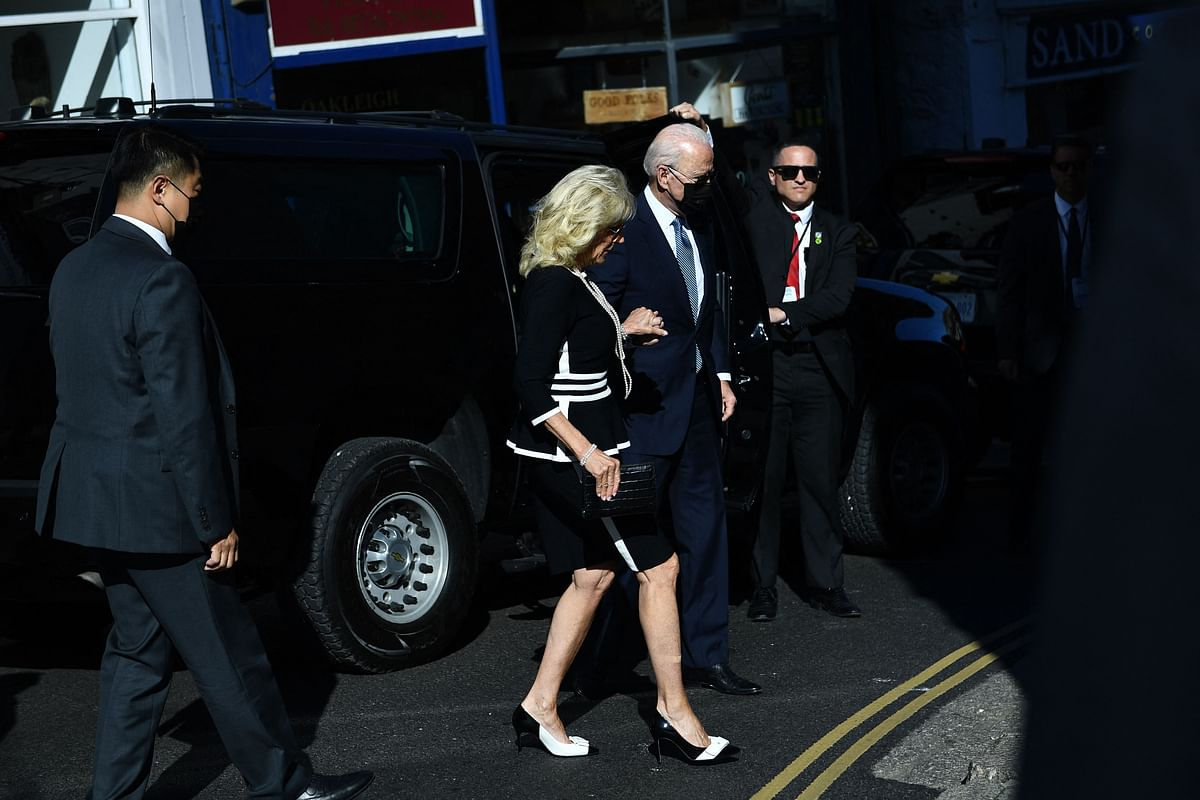 US President Joe Biden and US First Lady Jill Biden arrive for a Sunday service at a church in St Ives, Cornwall during the G7 summit on June 13, 2021.