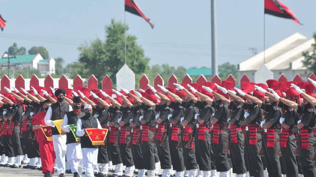 New Jammu and Kashmir Light Infantry Regiment recruits take oath during parade; see pics