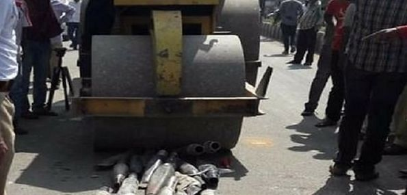 Watch: Ulhasnagar traffic Police seize more than 114 Bullets; crush their modified silencers using Road roller