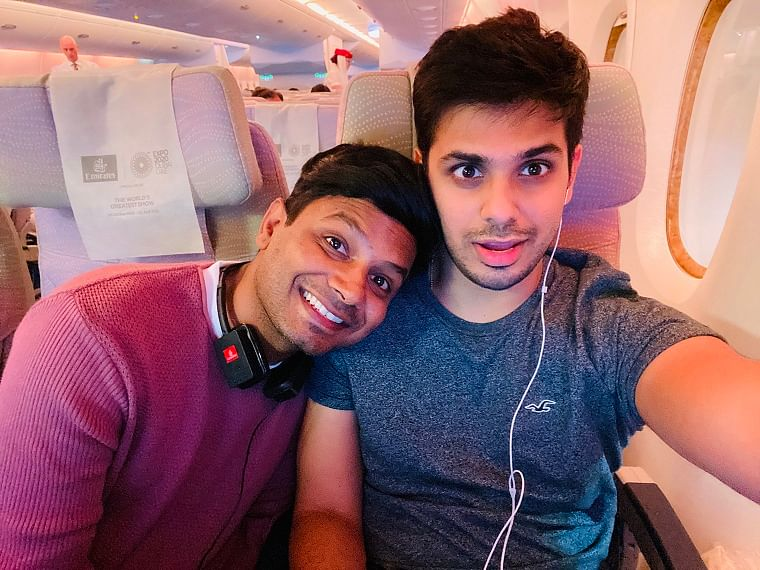 Shackya Nanda (left) is engaged to his partner Ajinkya Mhetre