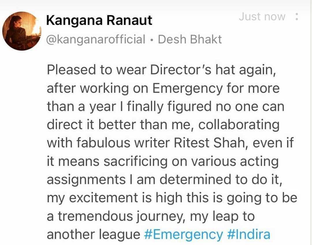 'No one can direct it better than me': Kangana Ranaut to helm Indira Gandhi film 'Emergency'