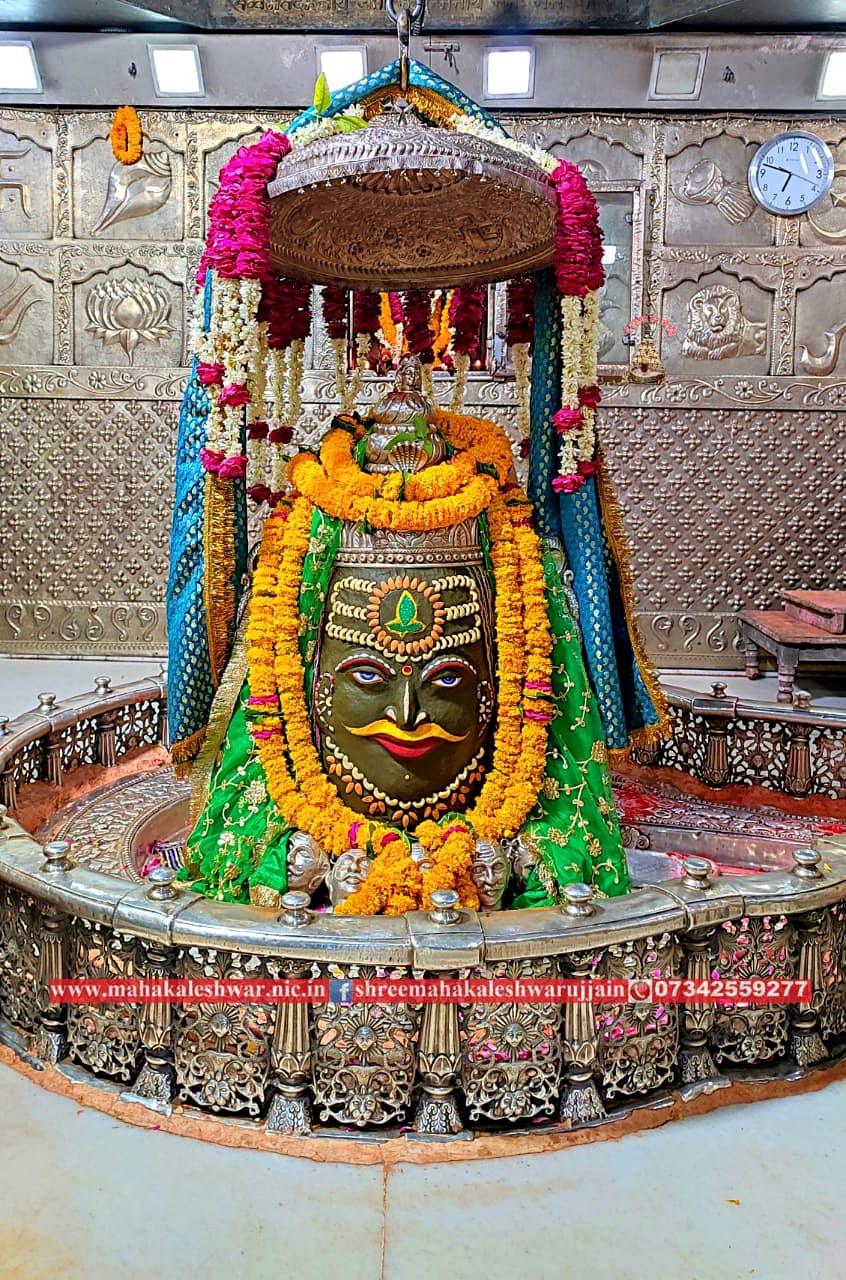 Mahakal Jyotirlingam decked up on Sunday evening. Darshan for devotees will recommence from 6 am on Monday