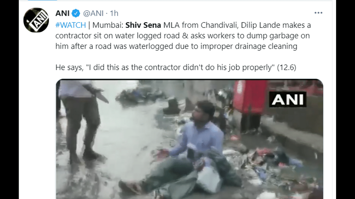 'Shameful act!': Shiv Sena MLA criticised for dumping garbage on contractor after waterlogging in area; watch video