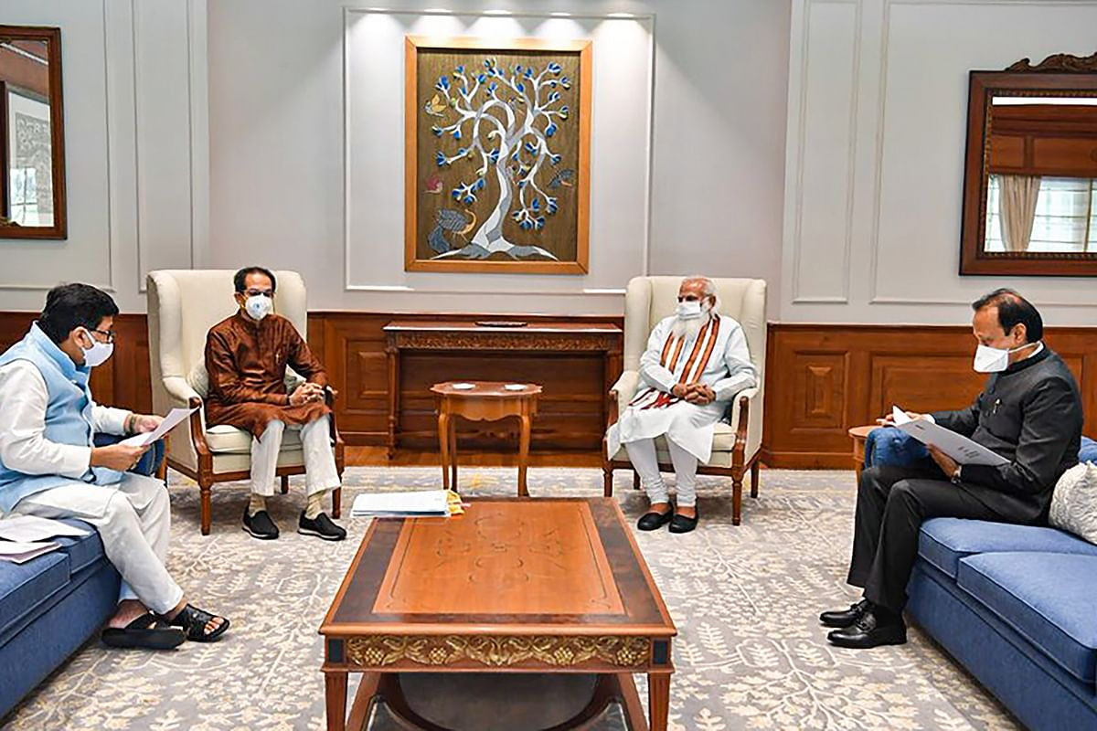 Prime Minister Narendra Modi in a meeting with Maharashtra Chief Minister Uddhav Thackeray, Deputy Chief Minister Ajit Pawar and Cabinet Minister Ashok Chavan (L) in New Delhi on June 8, 2021.