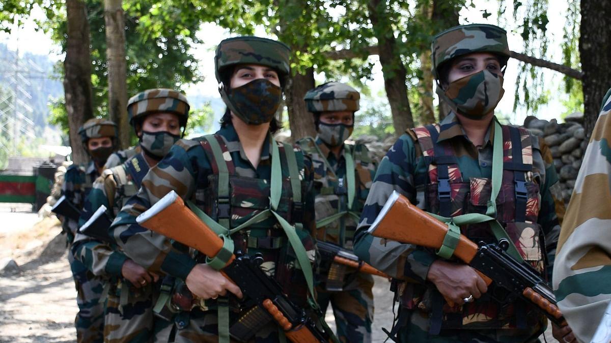 Women soldiers of Assam Rifle regiment deployed at Wasun, in Ganderbal district of Kashmir