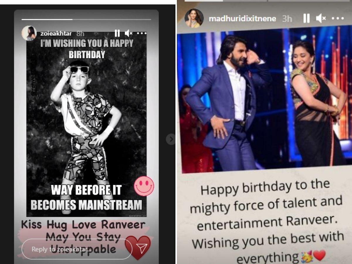 Zoya Akhtar and Madhuri Dixit's Instagram stories