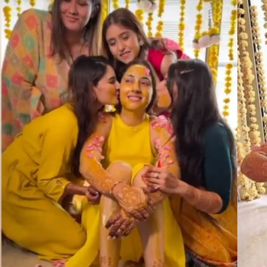 Inside pics, videos from Disha Parmar's Haldi ceremony go viral ahead of her wedding with Rahul Vaidya