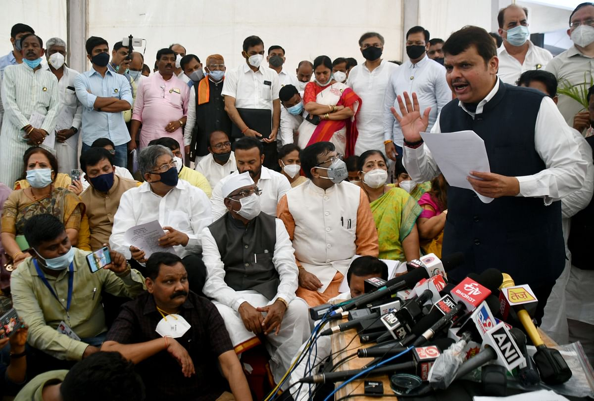 Maharashtra, July 06 (ANI): Maharashtra Leader of Opposition Devendra Fadnavis speaks to media during a protest against the 12 BJP MLAs suspension during the Monsoon Session, at Vidhan Bhavan, in Mumbai on Tuesday.