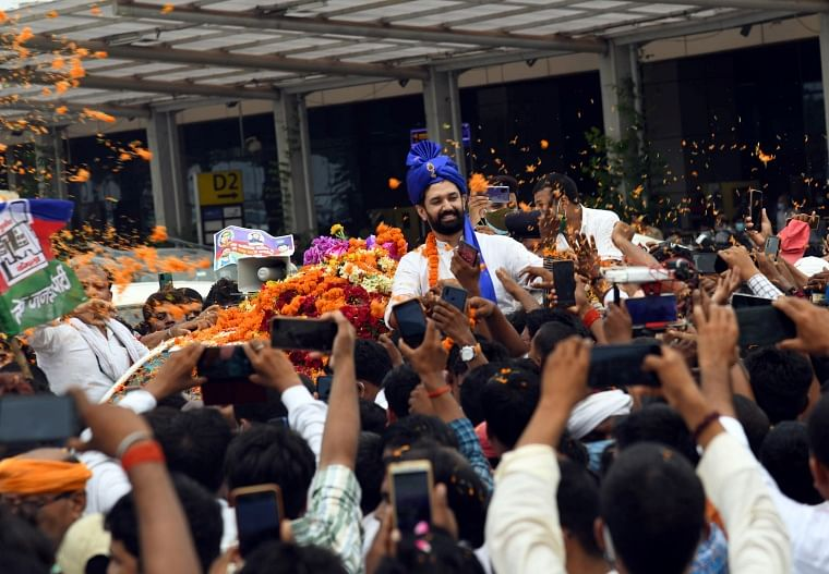 Bihar: LJP leader Chirag Paswan welcomed by huge crowd at Patna airport, COVID-19 norms go for a toss