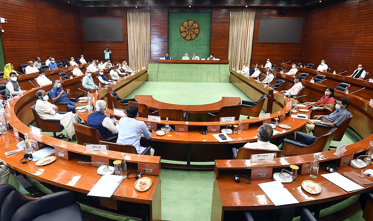 New Delhi, July 18 (ANI): Prime Minister Narendra Modi chairs an all-party meeting at Parliament, a day before the commencement of the Monsoon session of Parliament, in New Delhi on Sunday.