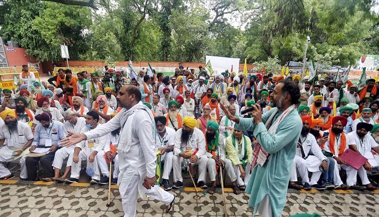 Farmers during Kisan Sansad at Jantar Mantar in New Delhi