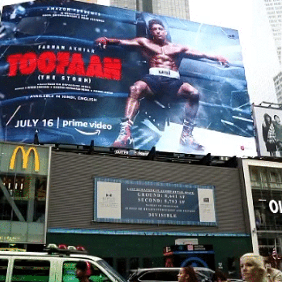 Farhan Akhtar's 'Toofan' promo makes it to Times Square billboard in NYC; actor says 'dream came true'