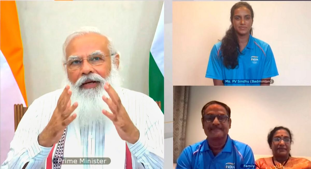 Prime Minister Narendra Modi addresses during the interaction with Indian athletes' contingent bound for Tokyo Olympics, via video conferencing in New Delhi, Tuesday