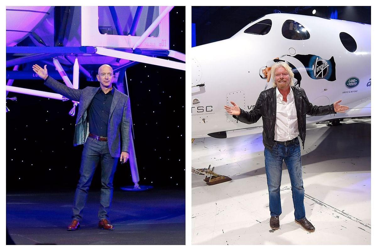 Spacemen Jeff Bezos (L) and Richard Branson