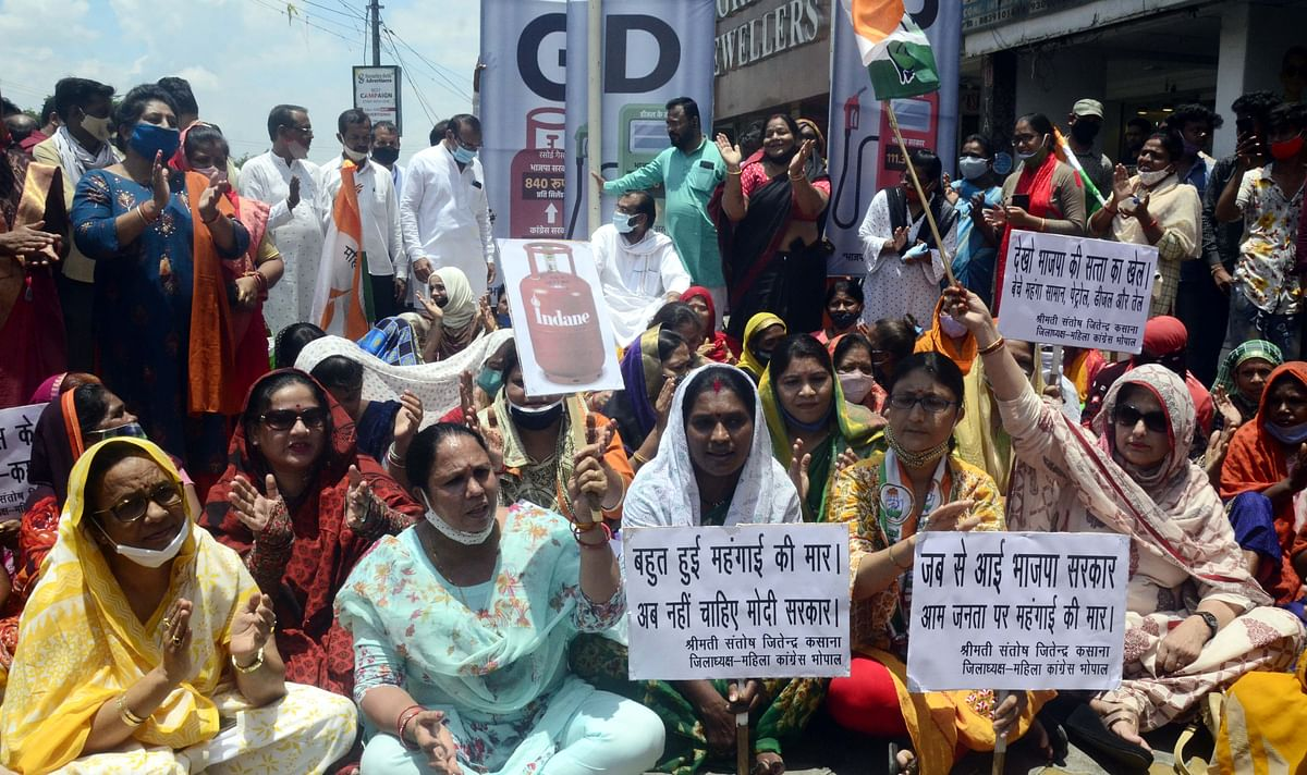 Bhopal: Congress women's wing stir against LPG price hike