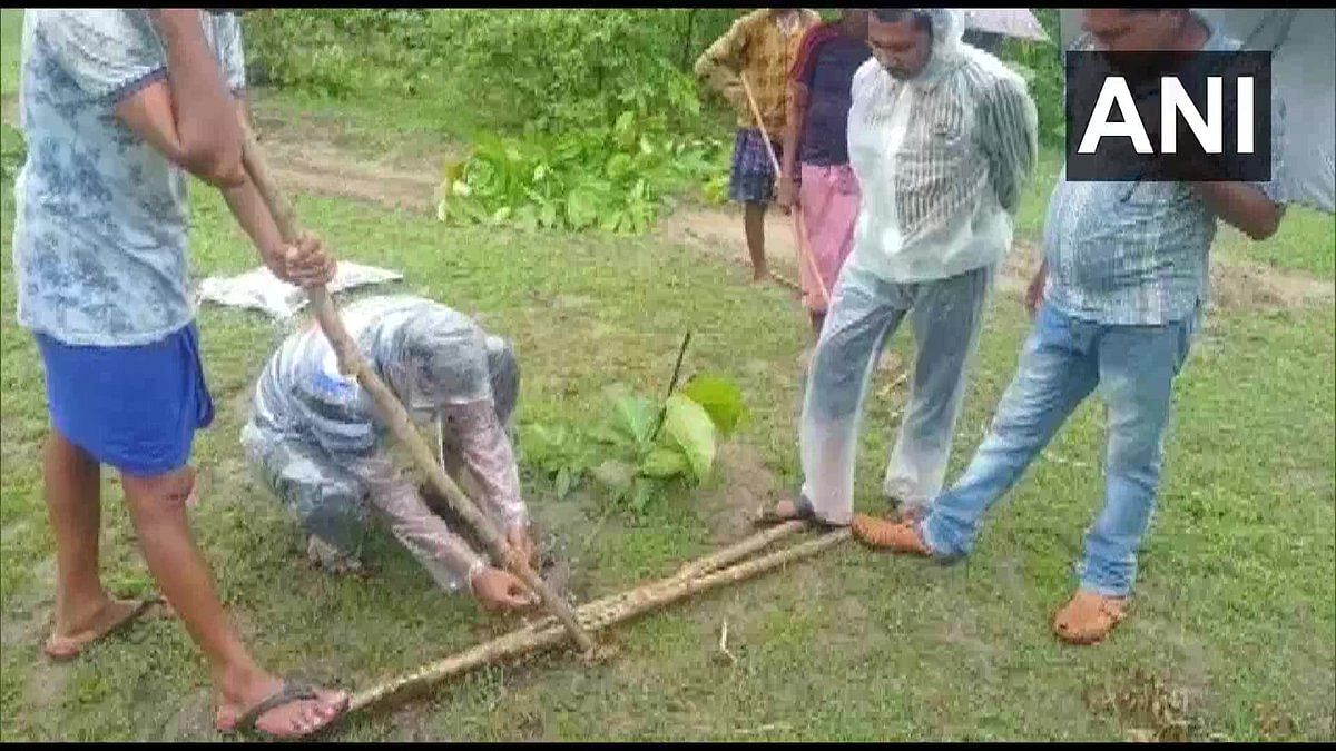 Rajmal Deep, a fisherman from the village had caught the python in his fishing net on Saturday morning