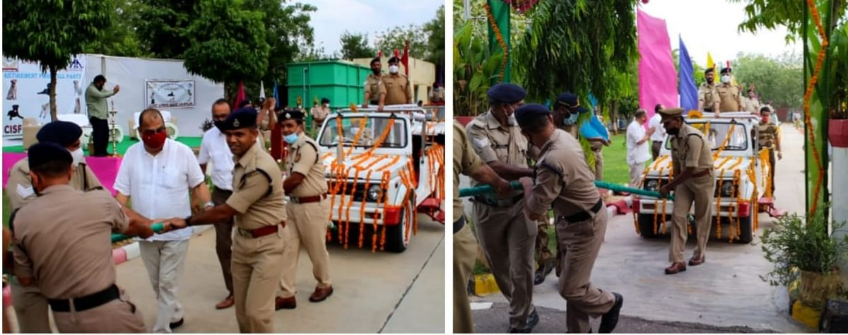 Officials from the airport and CISF were present and the dogs were given a send-off like senior officers.