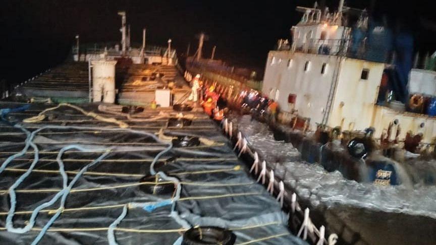 Mumbai: Indian Coast Guard's MV Hermeez evacuates 12 crew members of MV Kanchan stranded off Umargam
